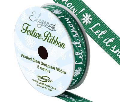 Eleganza Satin Grosgrain Let It Snow! Green 15mm x 5m - Christmas Ribbon