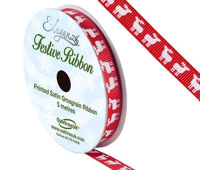 Eleganza Satin Grosgrain Reindeer Red 10mm x 5m - Christmas Ribbon