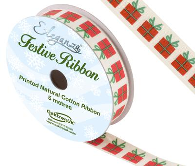 Eleganza Natural Cotton Christmas Gift No.366  15mm x 5m - Christmas Ribbon