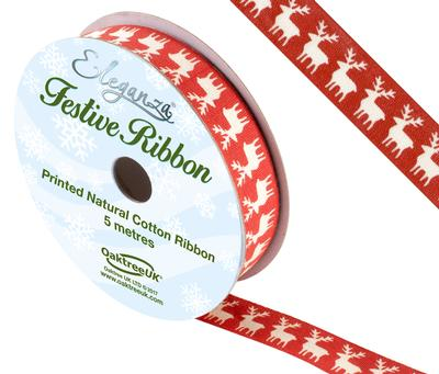 Eleganza Natural Cotton Christmas Reindeer Design No.369  15mm x 5m - Christmas Ribbon