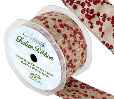 Eleganza Christmas Berries Design No.361 Natural/Red 50mm x 10yds - Christmas Ribbon