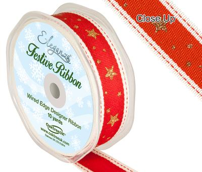 Eleganza Line Stitch Glitter Stars Red 25mm x 5m - Christmas Ribbon