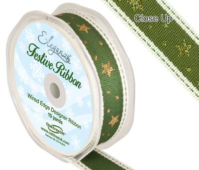 Eleganza Line Stitch Glitter Stars Green 25mm x 5m - Christmas Ribbon