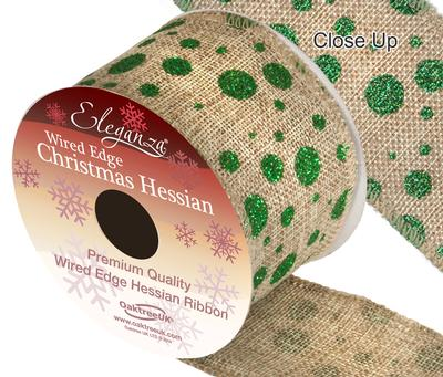 Eleganza Hessian Wired Edge Glitter Dot Green 10yds x 63mm - Christmas Ribbon