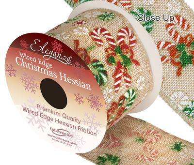 Eleganza Hessian Wired Edge Candy Cane Christmas 10yds x 63mm - Christmas Ribbon