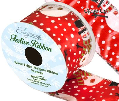 Eleganza Satin Wired Edge Snowman Red 10yds x 63mm - Christmas Ribbon