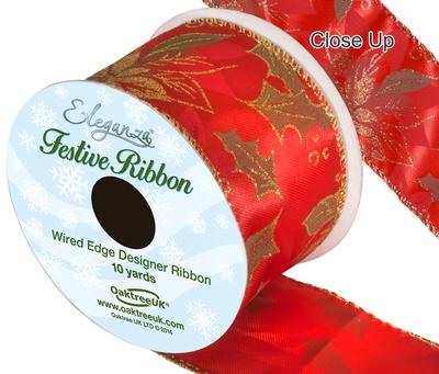 Eleganza Satin Wired Edge Poinsettia Red 10yds x 63mm - Christmas Ribbon