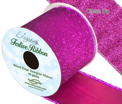 Eleganza Satin Wired Edge Sparkly Glitter Fuchsia 10yds x 63mm - Christmas Ribbon