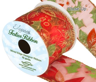Eleganza Finesse Wired Edge Poinsettia Red 10yds x 63mm - Christmas Ribbon