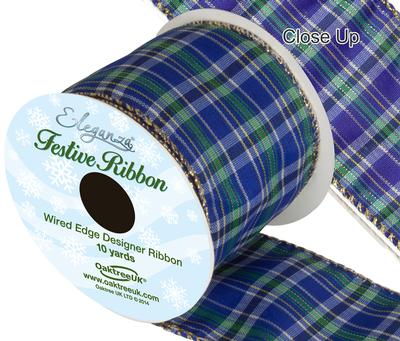 Eleganza Tartan Wired Edge Pattern No.273 10yds x 63mm - Christmas Ribbon