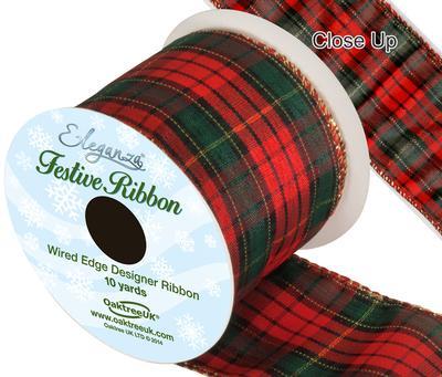 Eleganza Tartan Wired Edge Pattern No.274 10yds x 63mm - Christmas Ribbon