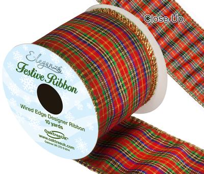 Eleganza Tartan Wired Edge Pattern No.276 10yds x 63mm - Christmas Ribbon