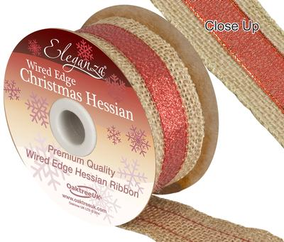 Eleganza Metallic Accented Hessian Red 38mm x 5yds - Christmas Ribbon