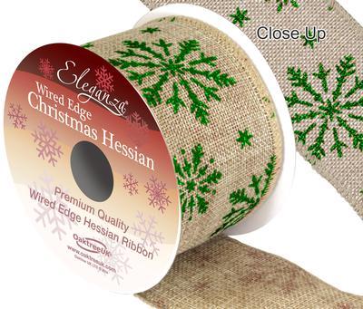 Eleganza Hessian Wired Edge Snow Flake Green 10yds x 63mm - Christmas Ribbon