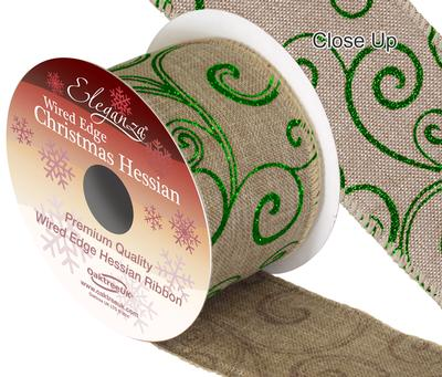 Eleganza Hessian Wired Edge Filigree Green 10yds x 63mm - Christmas Ribbon