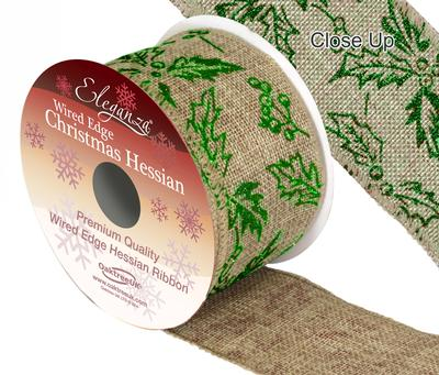 Eleganza Hessian Wired Edge Holly Green 10yds x 63mm - Christmas Ribbon