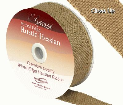 Eleganza Wired Rustic Hessian 32mm x 9.1m Natural No.02 - Ribbons