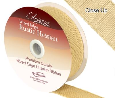 Eleganza Wired Rustic Hessian 32mm x 9.1m Cream No.62 - Ribbons