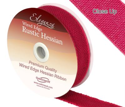 Eleganza Wired Rustic Hessian 32mm x 9.1m Fuchsia No.28 - Ribbons