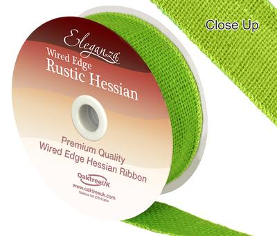 Eleganza Wired Rustic Hessian 32mm x 9.1m Lime Green No.14 - Ribbons