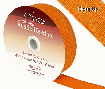 Eleganza Wired Rustic Hessian 32mm x 9.1m Orange No.04 - Ribbons