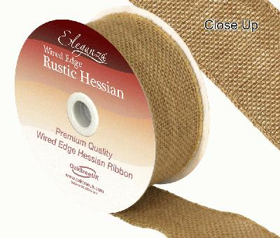 Eleganza Wired Rustic Hessian 50mm x 9.1m Natural No.02 - Ribbons