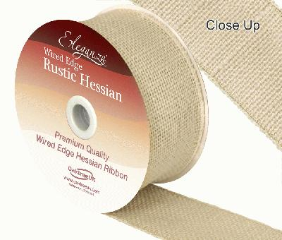 Eleganza Wired Rustic Hessian 50mm x 9.1m Ivory No.61 - Ribbons