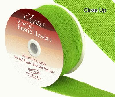Eleganza Wired Rustic Hessian 50mm x 9.1m  Lime Green No.14 - Ribbons