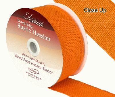 Eleganza Wired Rustic Hessian 50mm x 9.1m Orange No.04 - Ribbons