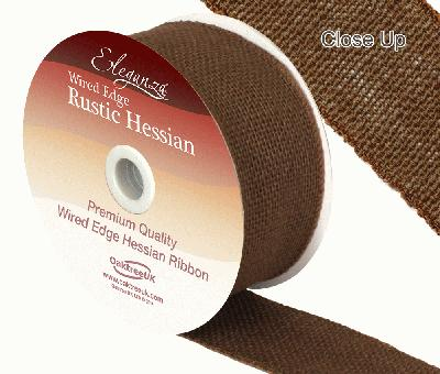 Eleganza Wired Rustic Hessian 50mm x 9.1m Chocolate No.58 - Ribbons