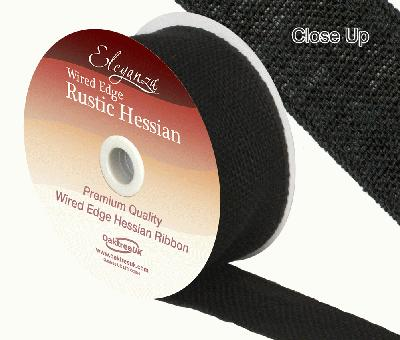 Eleganza Wired Rustic Hessian 50mm x 9.1m Black No.20 - Ribbons
