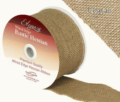 Eleganza Wired Rustic Hessian 70mm x 9.1m Natural No.02 - Ribbons