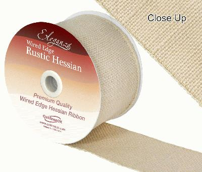 Eleganza Wired Rustic Hessian 70mm x 9.1m Ivory No.61 - Ribbons