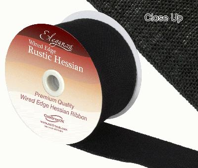 Eleganza Wired Rustic Hessian 70mm x 9.1m Black No.20 - Ribbons