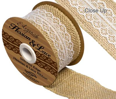 Woven Edge Hessian & Lace 50mm x 5yds White No.1 - Ribbons