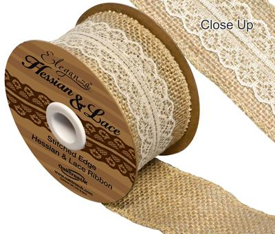 Woven Edge Hessian & Lace 50mm x 5yds Ivory No.61 - Ribbons
