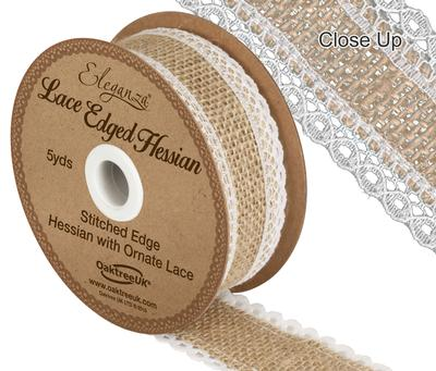 Eleganza Lace Edge Hessian 36mm x 5yards Natural/White - Ribbons