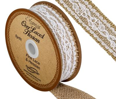 Eleganza Overlaced Hessian 26mm x 4.47m (5yds) White No.01 - Ribbons