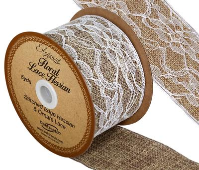 Eleganza Floral Lace Hessian 50mm x 4.57m (5 yards) White No.01 - Ribbons