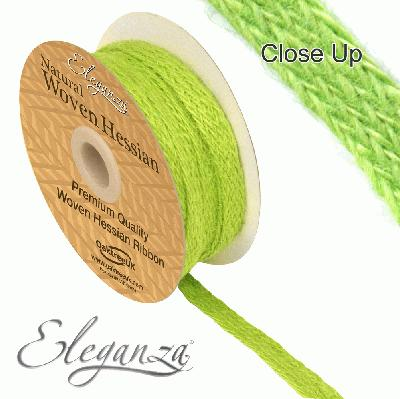 Eleganza Woven Hessian 10mm x 10m Apple Green No.63 - Ribbons