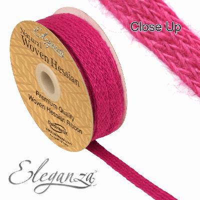 Eleganza Woven Hessian 10mm x 10m Fuchsia No.28 - Ribbons