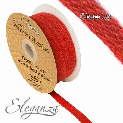 Eleganza Woven Hessian 10mm x 10m Red No.16 - Ribbons