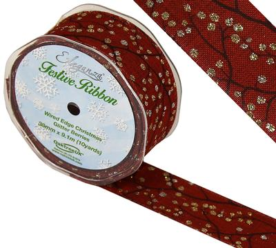 Eleganza Wired Edge Christmas Glitter Berries Design No.376 Red/Gold 38mm x 9.1m - Christmas Ribbon