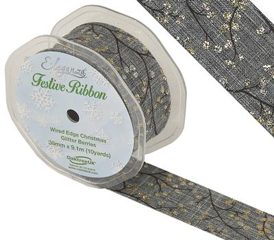 Eleganza Wired Edge Christmas Glitter Berries Design No.376 Grey/Gold 38mm x 9.1m - Christmas Ribbon