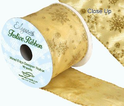 Eleganza Satin Wired Edge Glitter Snow Flake Gold 10yds x 63mm - Christmas Ribbon