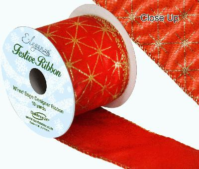 Eleganza Satin Wired Edge Glitter Star Red 10yds x 63mm - Christmas Ribbon