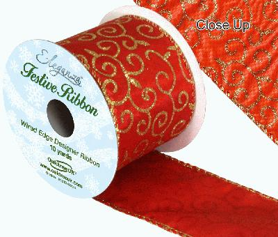 Eleganza Satin Wired Edge Glitter Filigree Red 10yds x 63mm - Christmas Ribbon