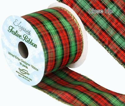 Eleganza Tartan Wired Edge Pattern No. 270 10yds x 63mm - Christmas Ribbon
