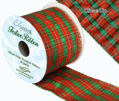 Eleganza Tartan Wired Edge Pattern No. 271 10yds x 63mm - Christmas Ribbon