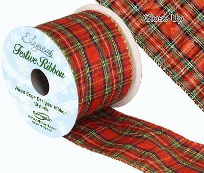 Eleganza Tartan Wired Edge Pattern No. 272 10yds x 63mm - Christmas Ribbon